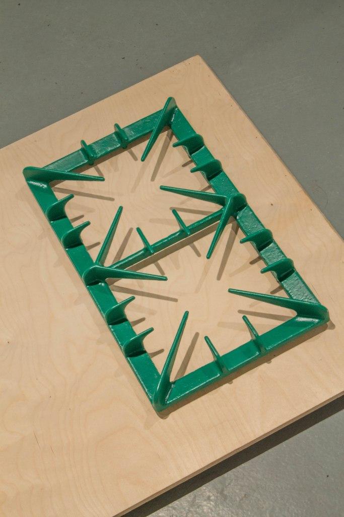 Mantrap (detail) Cast Iron, Paint, Birch