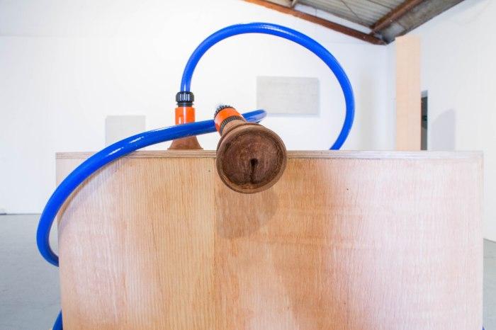 Drained (detail) Wood, Hose, Mahogany, Steel
